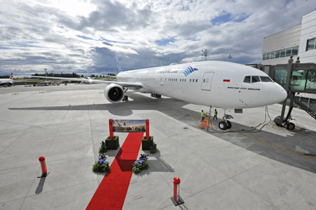 Garuda Indonesia 777-300 ER at Everett Delivery Center