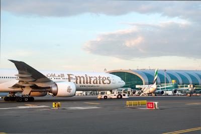 Emirates aircraft at Dubai International Airport