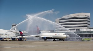 Delta Airlines inaugural flight from Seattle to Seoul, 2 June 2014.