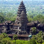 Cambodia: Traffic on road in front of Angkor Wat temple prohibited
