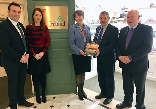 REPRO FREE 12/03/2018, New York – Representatives of Mayo County Council and Castlebar Municipal District, who are in New York for the St Patrick's Day period, met with senior executives from Tourism Ireland. They were briefed on Tourism Ireland's extensive promotional programme for 2018, which is in full swing right now.  PIC SHOWS: Cllr Cyril Burke, Mayo County Council; Deirdre O'Brien and Alison Metcalfe, both Tourism Ireland; John McHale, Castlebar Municipal District; and Cllr Michael Kilcoyne, Mayo County Council, in the Tourism Ireland office in New York. Pic – Tourism Ireland (no repro fee) Further press info – Sinéad Grace, Tourism Ireland 087 685 9027