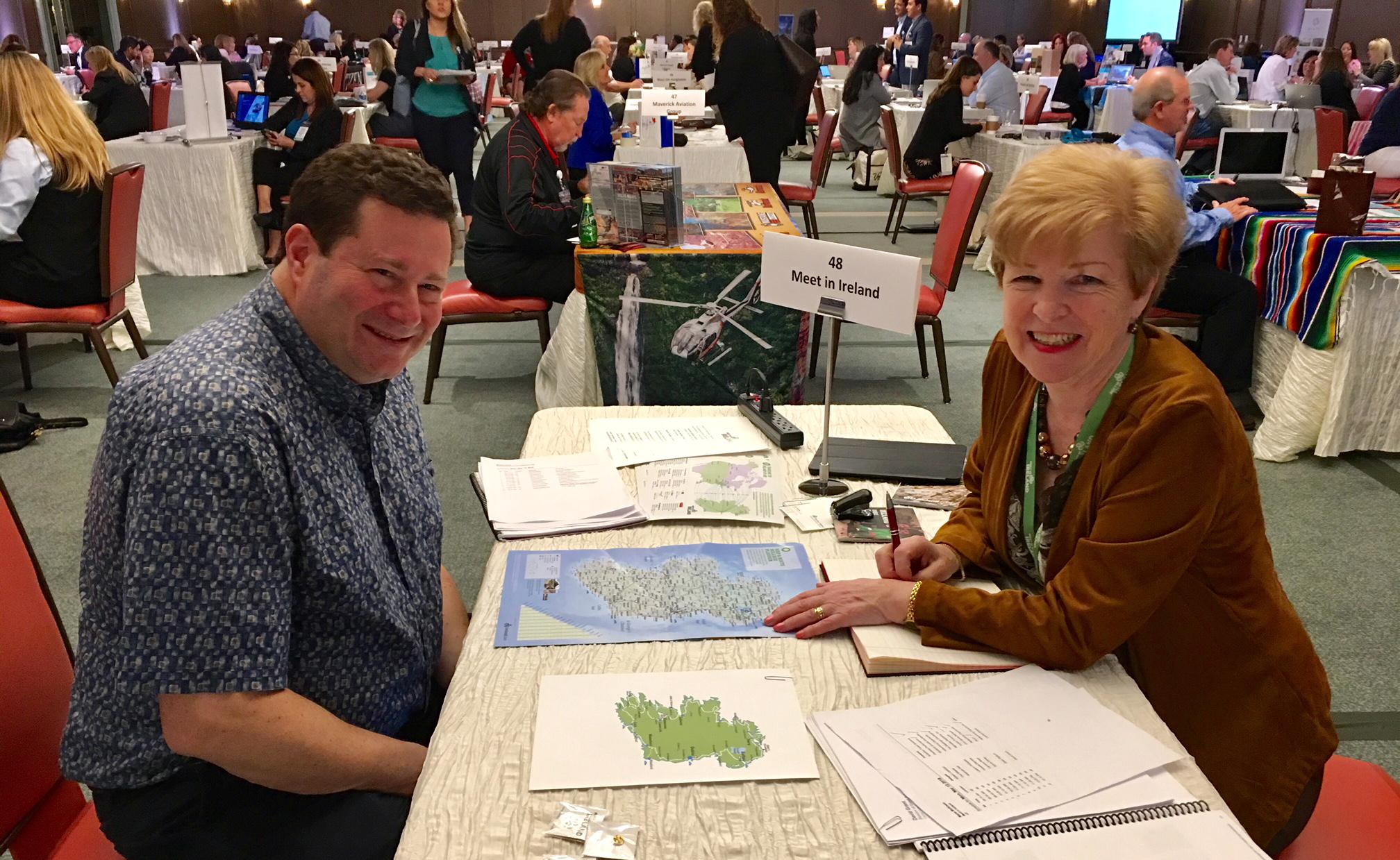 REPRO FREE 12/03/2018, Las Vegas – Ireland is being promoted as a top destination for business tourism this week, at Incentive Live in Las Vegas.  PIC SHOWS: Michael Some, Achievement Incentives & Meetings, meeting with Marie McKown, Tourism Ireland, at Incentive Live in Las Vegas.  Pic – Tourism Ireland (no repro fee) Further press info – Sinéad Grace, Tourism Ireland 087 685 9027