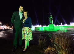 "REPRO FREE 11/03/2018, Guadalajara, Mexico – Tourism Minister Brendan Griffin is visiting Mexico as part of the ""Promote Ireland"" programme around St Patrick's Day. In Guadalajara, he attended the 'greening' of various sites, including the Monumento a los Ninos Héroes, which is taking part in Tourism Ireland's annual Global Greening initiative. PIC SHOWS: Tourism Minister Brendan Griffin and HE Barbara Jones, Irish Ambassador to Mexico, at La Minerva monument in Guadalajara – which is illuminated in green this week, as part of Tourism Ireland's annual Global Greening initiative.  Pic – Edgar Omar Gonzalez Lopez (no repro fee) Further press info – Sinéad Grace, Tourism Ireland 087 685 9027"