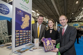 REPRO FREE 20/03/2018, Birmingham – Eight tourism companies from the island of Ireland joined Tourism Ireland at the British Tourism and Travel Show, at the NEC in Birmingham.  PIC SHOWS: Jim Maher, Select Hotels of Ireland; Juno Thompson, Tourism Ireland; and Neil Grant, Celtic Ross Hotel, at the British Tourism and Travel Show in Birmingham. Pic – Jonathan Hipkiss (no repro fee) Further press info – Sinéad Grace, Tourism Ireland 087 685 9027