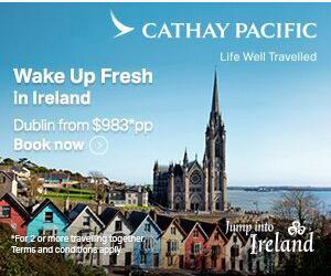 April 2018 - Cathay Pacific will launch its new flight from Hong Kong to Dublin in June. Tourism Ireland in Sydney has teamed up with Cathay Pacific, rolling out a campaign to highlight this new flight option for Australian holidaymakers wishing to visit Ireland in 2018 and 2019.  Visual shows: Online ad, part of new Tourism Ireland-Cathay Pacific campaign. Further media information - Sinead Grace, Tourism Ireland 087-685 9027