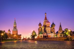 St. Basil's Cathedral and Spasskaya tower at sunset