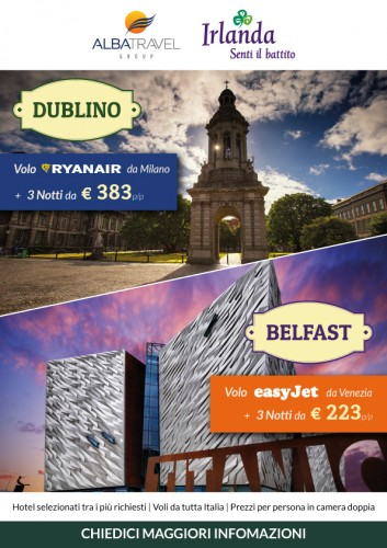 Ssptember 2018 - Some 14,500 travel agents around Italy are seeing promotions for the island of Ireland right now. Tourism Ireland is partnering with Albatravel (a leading packaging platform for the travel trade), in a new campaign aimed specifically at travel agents. The campaign aims to increase bookings for city break packages to Dublin and Belfast – with ads running in the Italian travel trade press and on the Albatravel website.  Further media information: Sinéad Grace, Tourism Ireland  087-685 9027