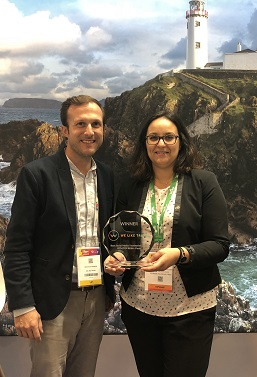 REPRO FREE 26/09/2018, Paris – Tourism Ireland has been voted the number two tourist board for best use of social media in France. The award ceremony – organised by We Like Travel, an agency specialising in social media and travel – took place at IFTM (International French Travel Market) Top Résa in Paris, the largest travel trade exhibition in France, which is taking place this week.  PIC SHOWS: Nicolas de Dianous, We Like Travel, presents the award to Séverine Lecart, Tourism Ireland. Pic – Tourism Ireland (no repro fee) Further press info – Sinéad Grace, Tourism Ireland 087-685 9027