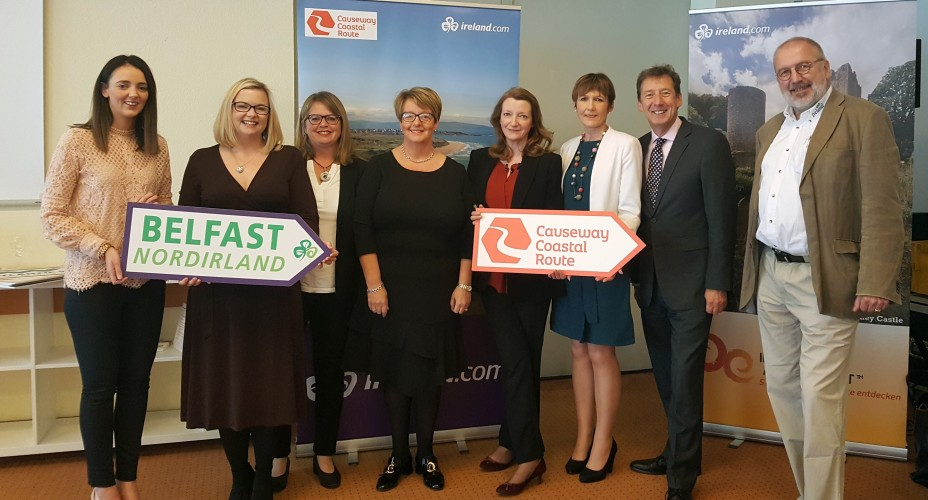 REPRO FREE 04/10/2018, Offenbach, Germany – Thirty (30) tourism companies from the island of Ireland travelled to Offenbach, near Frankfurt – to take part in a B2B workshop and networking event with leading German tour operators. The event was organised by Tourism Ireland, in a bid to grow visitor numbers from Germany, our third-largest tourism market, in 2019 and beyond. PIC SHOWS: Assumpta O'Neill, Titanic Belfast; Jac Callan, Visit Belfast; Denise Quinn, Tourism Ireland; Ghilian Campbell, Visit Armagh; Alex Mehaffy, Giant's Causeway and Carrick-a-Rede Rope Bridge; Liz Steele, Causeway Coastal Route; Shane Clarke and Chris Rübel, both Tourism Ireland, attending Tourism Ireland's B2B workshop and networking event in Offenbach. Pic – Tourism Ireland (no repro fee) Further press info – Clair Balmer / Elaine Moore, Tourism Ireland 07766 527719