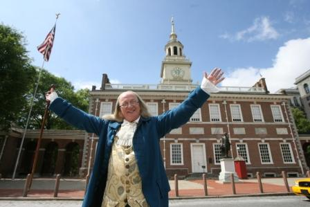 Benjamin Franklin at Independence Hall. Photo by Tim Hawk.